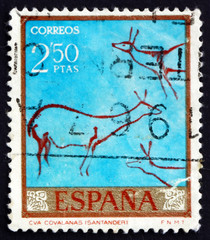 Postage stamp Spain 1967 Deer, Cave Painting