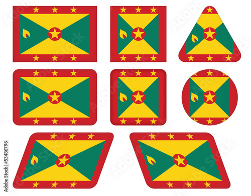 set of buttons with flag of Grenada