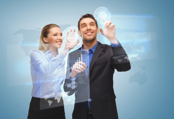 two business people working with virtual screen