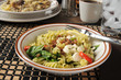 Pasta salad and beef stroganoff