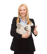 businesswoman with money bags showing thumbs up