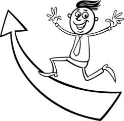 businessman with arrow cartoon