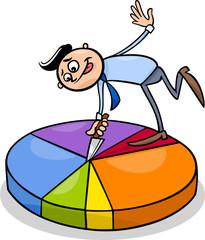 businessman on circle chart cartoon