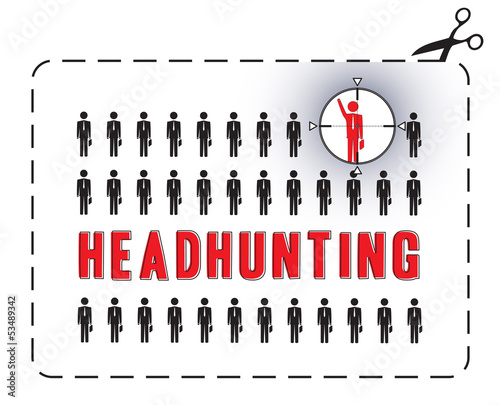 Illustrated poster for a headhunting. The concept of uniqueness