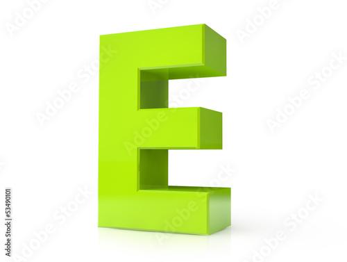 3d green letter - E