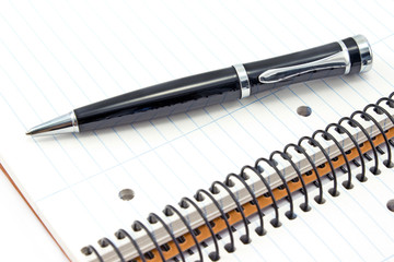 Notebook and pen close up