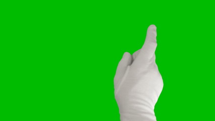 Hand in a white glove using a touchscreen