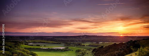 Panoramic sunset over England