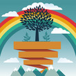 Vector creative concept with rainbow and tree