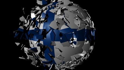 Finland flag sphere combining and breaking apart animation