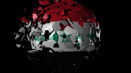 Iraq flag sphere combining and breaking apart animation