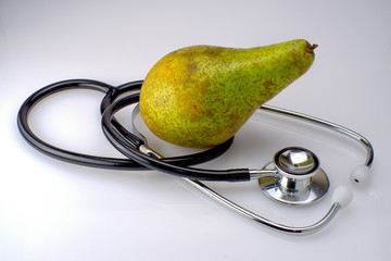 A stethoscope with a pear
