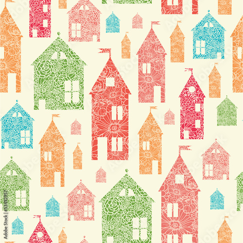 Vector flower town houses seamless pattern background with hand - 53492957