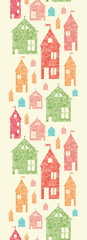 Vector flower town houses horizontal seamless pattern background
