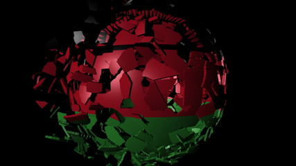 Malawi flag sphere combining and breaking apart animation