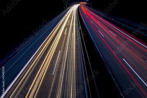 canvas print picture Nachtaufnahme - Autos auf Autobahn 2