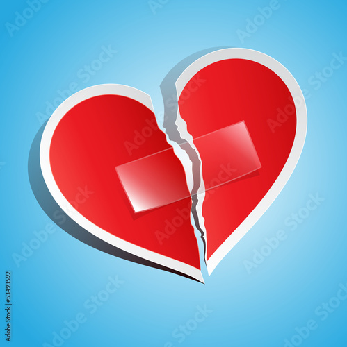 vector illustration of a torn paper heart, fixed with tape