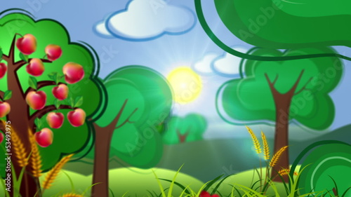 cartoon concept background with country side and building city