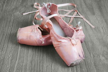 old pink ballet shoes