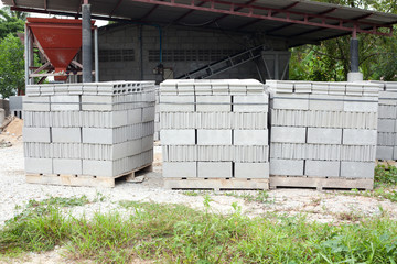 Pallets of concrete blocks