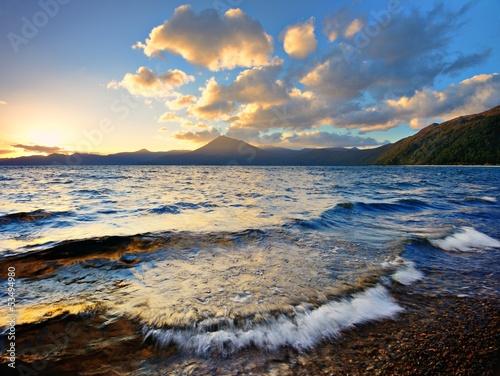Sunset at Lake Shikotsu in Hokkaido, Japan