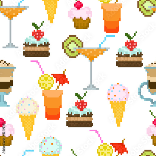 Seamless pattern with drinks and dessert