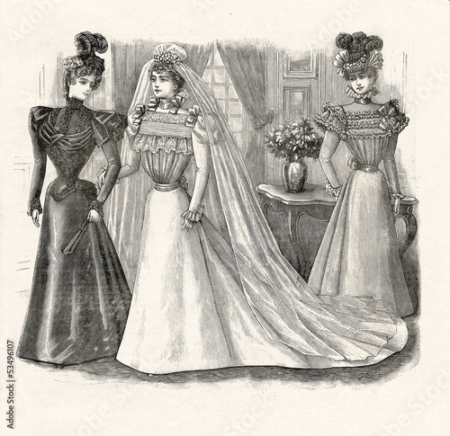 elegant woman in beautiful wedding dress. vintage illustration 1