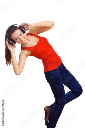 Happy smiling girl dancing
