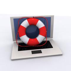 Lifebelt with laptop