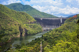 Riverbank and wall of dam in Thailand