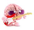 3d Brain plays guitar