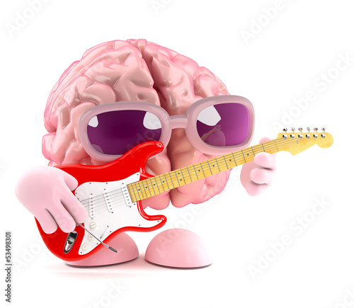 3d Brain plays guitar