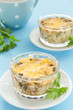 Gratin with mushrooms and cheese.
