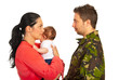 Mother with baby talk with military dad