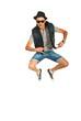 Jumping break dancer man
