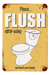 vector humor warning sign for flush after toilet usage