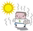 猛暑の中のビジネスマン