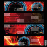 Abstract design of speedometer, sensor, sam