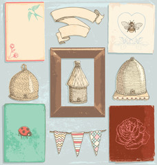 Hand Drawn Vintage Garden Elements Vector Set