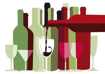 Weiß und Rotwein Flaschen und Gläser