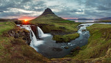 Fototapety Iceland Landscape spring panorama at sunset