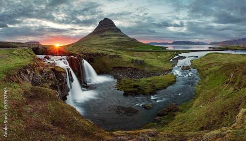 Staande foto Scandinavië Iceland Landscape spring panorama at sunset