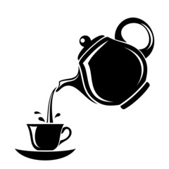 Black silhouette of teapot and cup. Vector illustration.