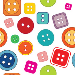 Seamless pattern: colored buttons on a white background