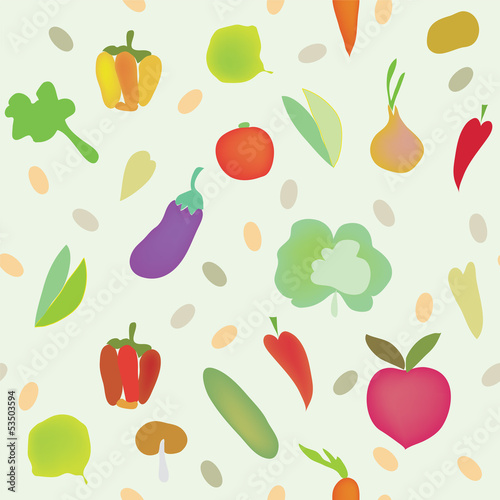 Vegetables seamless pattern with greens
