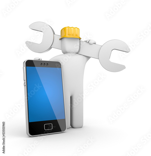 Worker with mobile phone