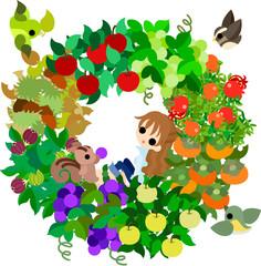 リンゴ、栗、イチジク、葡萄、マスカット、梨、柿、ざくろ、たくさんの秋の果実。