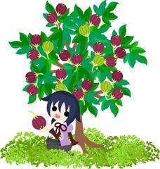 イチジクの木の下で休む少女。