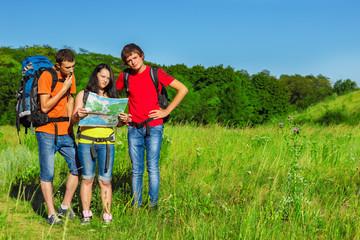 Teenage friends backpacking