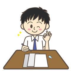 男子学生 テスト オーケー 夏服
